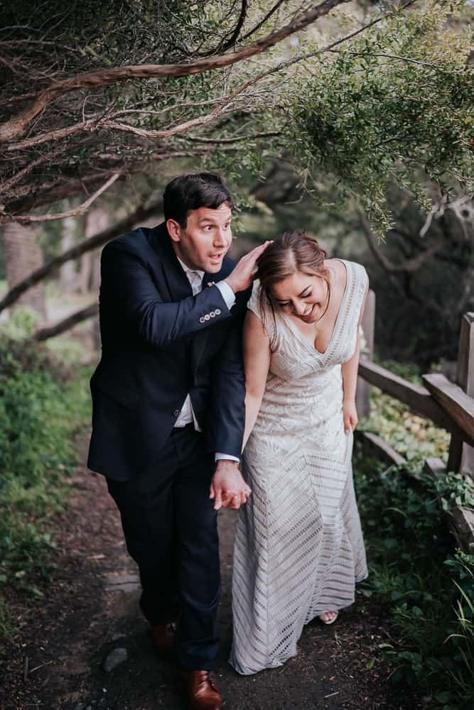 groom protecting his bride half moon bay ca elopement