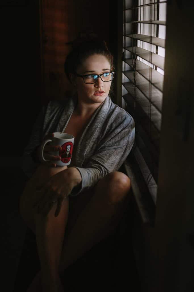 bridal boudoir girl with coffee